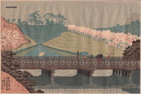 Fujishima Takeji: Spring Rain at Benkei Bashi — 弁慶橋春雨 - Japanese Art Open Database