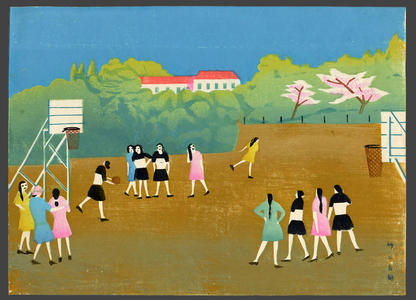 Fujishima Takeji: Girls playing Basketball - Japanese Art Open Database