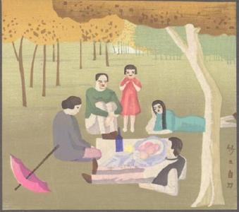 藤島武二: Picnic (After a French painting) - Japanese Art Open Database