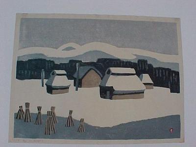 Azechi Umetaro: Snowy Mountain Village - Japanese Art Open Database