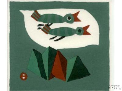 Azechi Umetaro: Two Birds Flying Over Mountains - Japanese Art Open Database