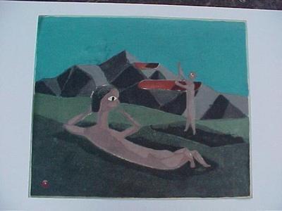 Azechi Umetaro: Unknown- sunbaking - Japanese Art Open Database