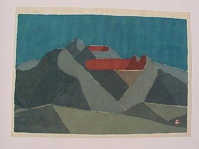 Azechi Umetaro: unknown- red mountain - Japanese Art Open Database