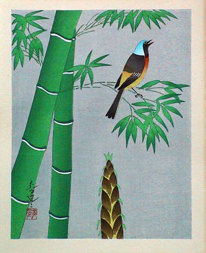 大野麦風: Unknown, summer, bamboo - Japanese Art Open Database