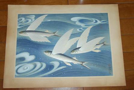 大野麦風: Flying fish- Tobiuo — トビウオ - Japanese Art Open Database