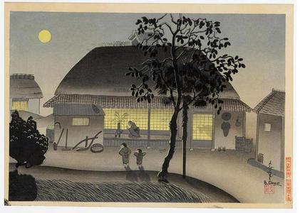 Bakufu Ohno: Farmers house, evening - Japanese Art Open Database