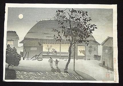 大野麦風: Farmers house, evening - Japanese Art Open Database
