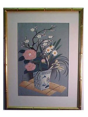 大野麦風: Flowers In Vase (Winter) - Japanese Art Open Database