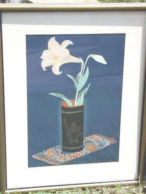 大野麦風: Lily In Bamboo Vase- V1 - Japanese Art Open Database