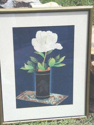 大野麦風: Peony in Bamboo Vase- V1 - Japanese Art Open Database