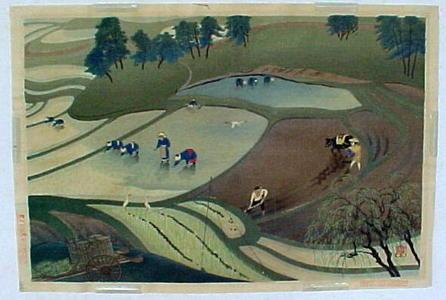 大野麦風: Planting rice - Japanese Art Open Database