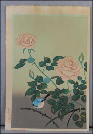 大野麦風: Red Rose (later restrike) - Japanese Art Open Database