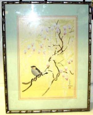 大野麦風: Unknown, Bird in Cherry Tree - Japanese Art Open Database
