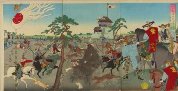Toyohara Chikanobu: The shogun hunting boar at Koganahara — 旧諸侯上野初御仏参之 - Japanese Art Open Database