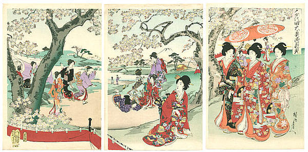 豊原周延: Cherry Blossoms Party — Chiyoda Ooku Ohanami - Japanese Art Open Database