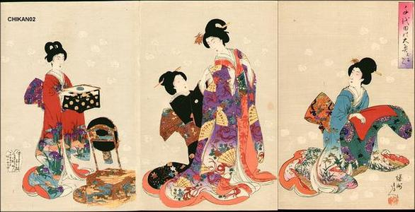 豊原周延: Dressing in a Kimono - Japanese Art Open Database