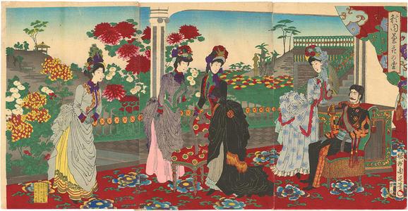 豊原周延: Blooming chrysanthemums in an autumn garden — 秋園菊花の盛 - Japanese Art Open Database