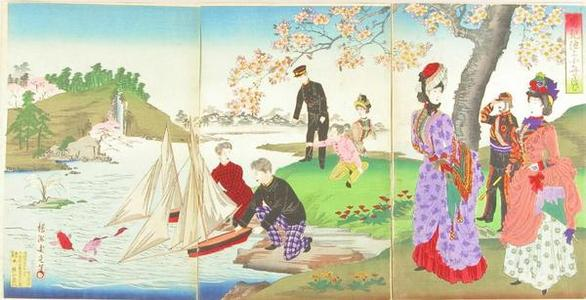 Toyohara Chikanobu: Boys floating boats on a pond — 男児池上小舟を浮む - Japanese Art Open Database