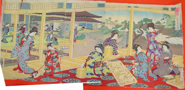 豊原周延: Scene of Women Cultivating Silk — 貴婦人養蚕之図 - Japanese Art Open Database