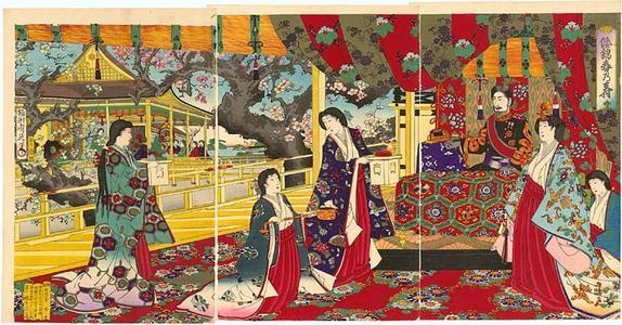 豊原周延: The Emperor and Empress celebrating the arrival of Spring, Yamato Kinshun no Ju - Japanese Art Open Database