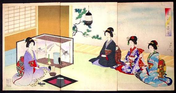豊原周延: Unknown, Winter tea ceremony - Japanese Art Open Database