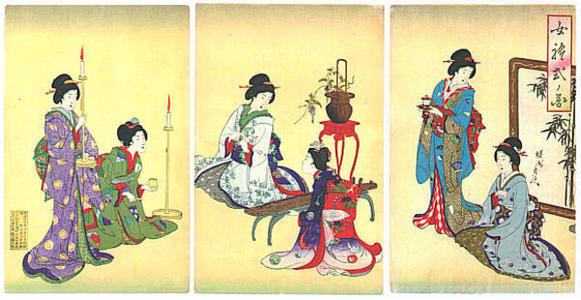 豊原周延: Preparing for a Koto recital - Japanese Art Open Database