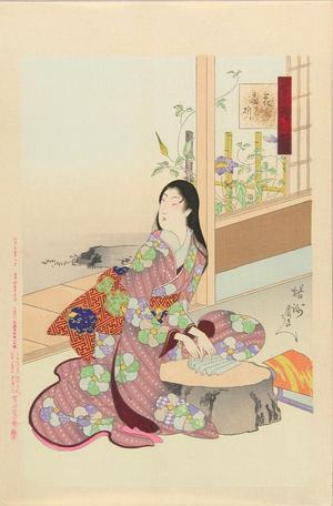 豊原周延: Flower- A beauty making a fan - Japanese Art Open Database