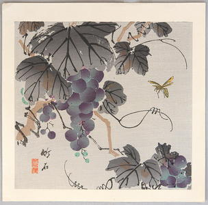 長町竹石: Grape and Wasp - Japanese Art Open Database
