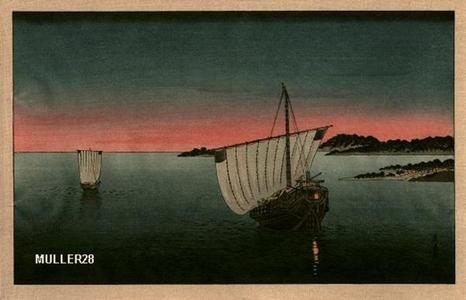 富岡英泉: Anchored Sailboat- V1 - Japanese Art Open Database