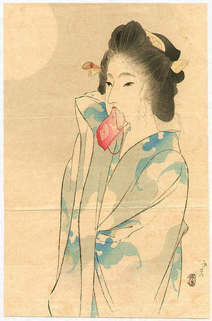 富岡英泉: Beauty and the Moon - Japanese Art Open Database