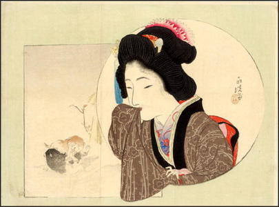 Tomioka Eisen: Bijin with Puppies - Japanese Art Open Database