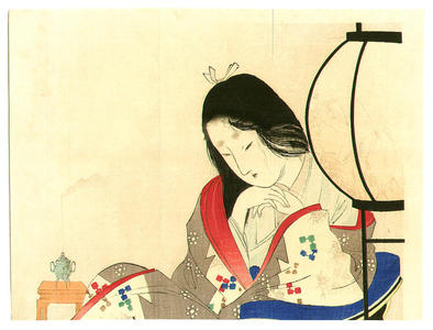 富岡英泉: Lady and Lantern - Japanese Art Open Database