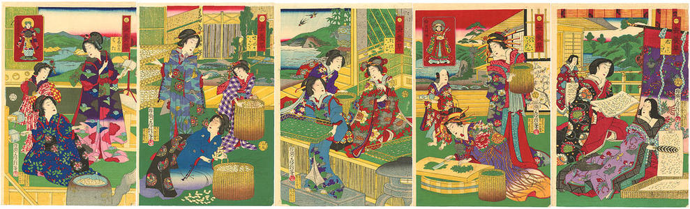 Utagawa Fusatane: Women engaged in all the steps of silkworm culture from eggs to boiling and unwinding the coccoons - Japanese Art Open Database