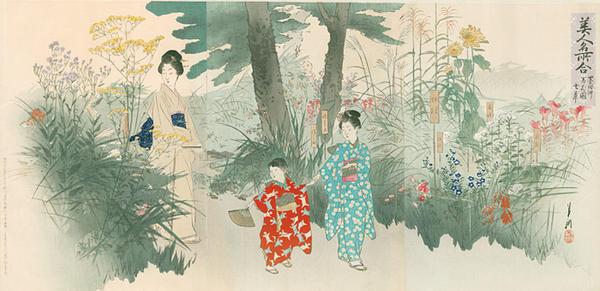 Ogata Gekko: Seven Flowers of Autumn — Bijin meisho awase - Japanese Art Open Database