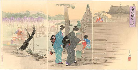 Ogata Gekko: Women and children viewing wisteria at Kameido Shrine - Japanese Art Open Database