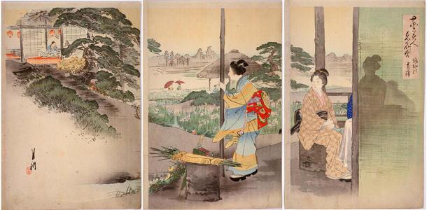 尾形月耕: Irises at Horikiri — 堀切の菖蒲 - Japanese Art Open Database