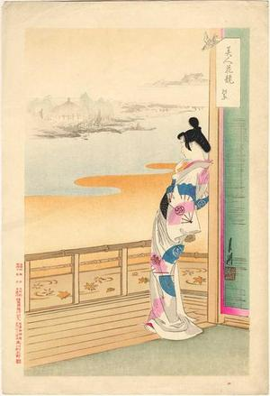 Ogata Gekko: elegant Japanese Lady in her Kimono, gazing out of her balcony - Japanese Art Open Database