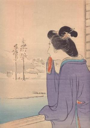 尾形月耕: Bijin and Winter Landscape - Japanese Art Open Database
