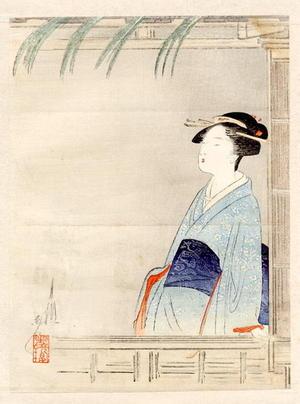 尾形月耕: Bijin at a Window - Japanese Art Open Database