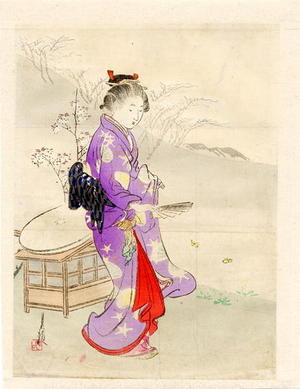 尾形月耕: Girl and Fan - Japanese Art Open Database