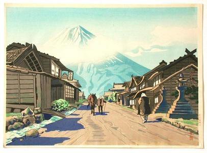 Goro Tsuruta: Mount Fuji from Yoshida Road — Yoshida Guchi no Fuji - Japanese Art Open Database