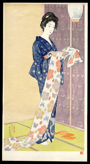 Hashiguchi Goyo: Natsu Yosoi no Musume- Daugher in a summer kimono — 夏装之娘-かそうのむすめ - Japanese Art Open Database
