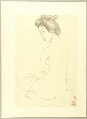 橋口五葉: Seated Nude - Japanese Art Open Database