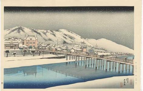 橋口五葉: Snowing at the Sanjo Bridge in Kyoto - Japanese Art Open Database