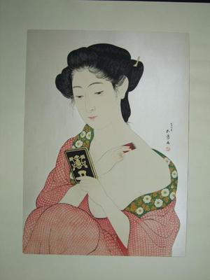 Hashiguchi Goyo: Woman Applying Makeup- Kesho no Onna — 化粧の女 - Japanese Art Open Database