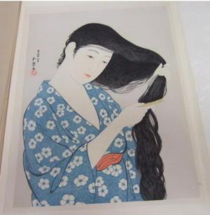 橋口五葉: Woman Combing her Hair — 髪すける女 - Japanese Art Open Database