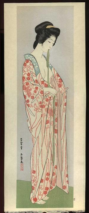 Hashiguchi Goyo: Woman Dressing- Woman in a Long Undergarment — 長襦袢を着たる女 - Japanese Art Open Database