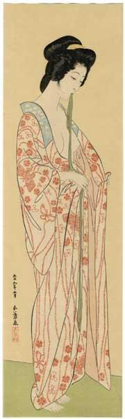 Hashiguchi Goyo: Woman Dressing- Woman in a Long Undergarment — 長襦袢を着たる女 - Japanese Art Open Database