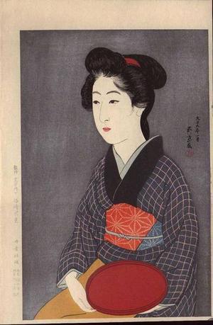 Hashiguchi Goyo: Woman Holding a Tray - Bon Moteru Onna - Japanese Art Open Database