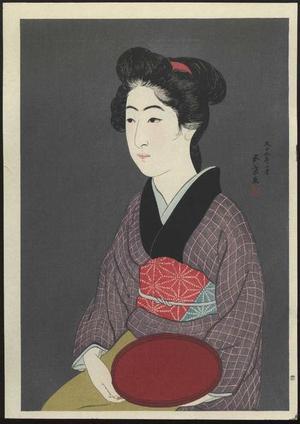 橋口五葉: Woman Holding a Tray - Bon Moteru Onna - Japanese Art Open Database